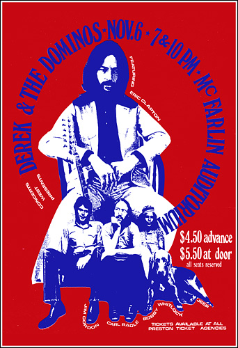 Eric Clapton Derek and the Dominos 1970 Dallas Concert Poster