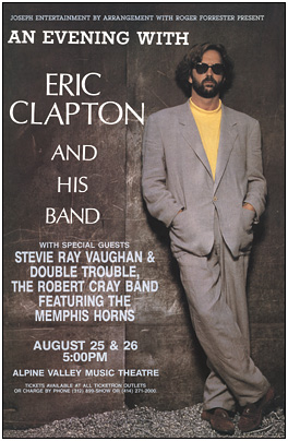 Eric Clapton Concert Posters Stevie Ray Vaughan Concert Poster