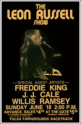Leon Russell, Freddie King, J J Cale and Willis Allen Ramsey Concert Poster