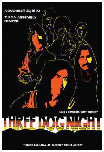 Three Dog Night 1970 Tulsa Concert Poster