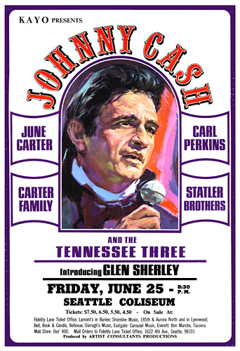 Johnny Cash Seattle 1971 Concert Poster