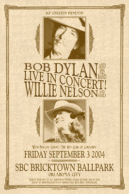 Bob Dylan and Willie Nelson Concert Posters