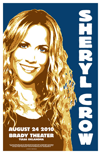 Sheryl Crow 2010 Concert Poster at the Brady in Tulsa