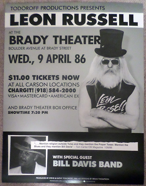 LEON RUSSELL and BILL DAVIS Tulsa Concert Poster Reproduction